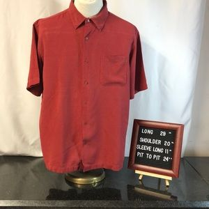 TravelSmith Mens Shirt XL Red Bottom Down 💛💜
